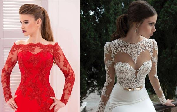 Гипюр на атласе - самая популярная ткань для пошива свадебных платьев
