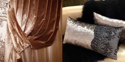 Шторы и подушки из бархата